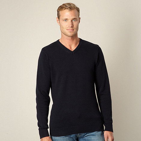 Maine New England - Big and tall dark blue v neck jumper