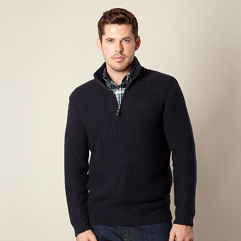 Maine New England - Navy textured zip neck jumper