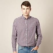 Big and tall maroon gingham checked shirt