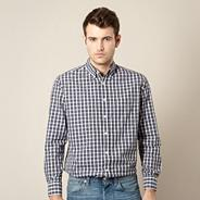 Big and tall dark grey two tone gingham checked shirt