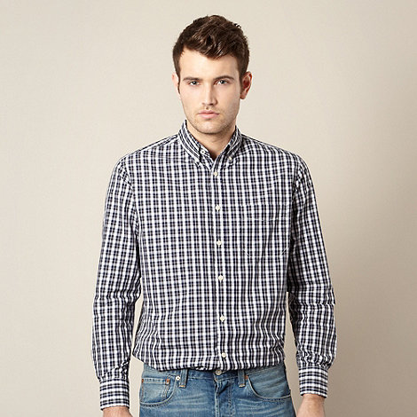Maine New England - Dark grey two tone gingham checked shirt