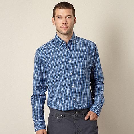 Maine New England - Royal blue tartan checked shirt
