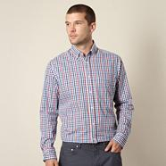 Blue and red gingham checked shirt