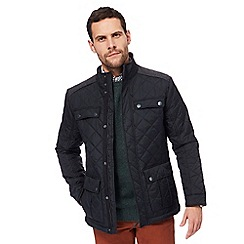 Maine New England - Black herringbone insert quilted jacket