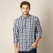 Big and tall dark purple checked shirt