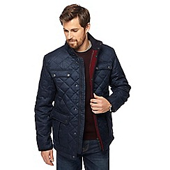 Maine New England - Navy herringbone quilted jacket