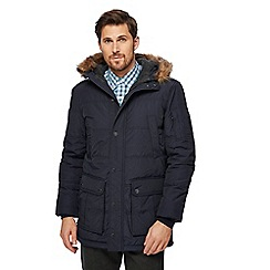 Maine New England - Big and tall navy padded faux fur trim parka