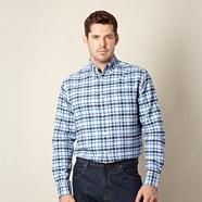 Royal blue checked oxford shirt