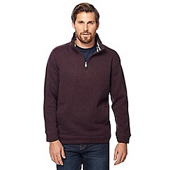 Maine New England - Plum knit-look zip neck jumper