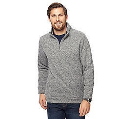 Maine New England - Big and tall grey knit-look zip neck jumper