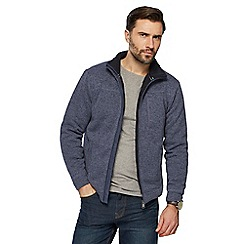 Maine New England - Blue knit-look Borg lined zip through jacket