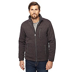 Maine New England - Big and tall dark grey knit-look borg lined zip through jacket