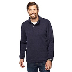 Maine New England - Big and tall dark blue knit-look funnel neck jumper
