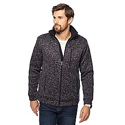 Maine New England - Big and tall navy speckled borg lined zip through jacket