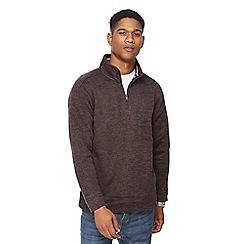 Maine New England - Navy knitted zip neck sweatshirt