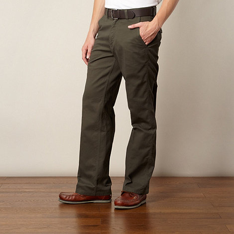 Maine New England - Dark green belted straight leg chinos