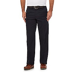 Maine New England - Big and tall navy belted straight leg chinos
