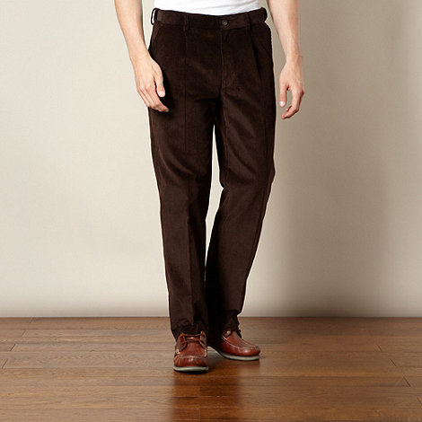 Maine New England - Big and tall brown chunky corduroy trousers