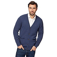 Maine New England - Big and tall blue knitted cardigan