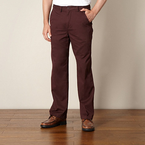 Maine New England - Maroon straight leg chinos