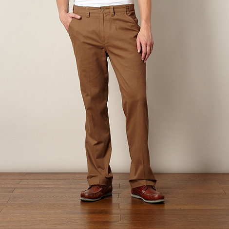 Maine New England - Dark tan straight leg chinos
