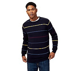 Maine New England - Navy fine stripe crew neck jumper