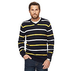 Maine New England - Navy and yellow striped V-neck jumper