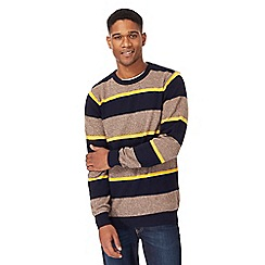 Maine New England - Dark yellow striped crew neck jumper