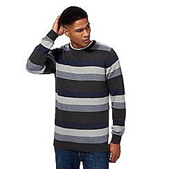 Maine New England - Grey feeder stripe crew neck jumper