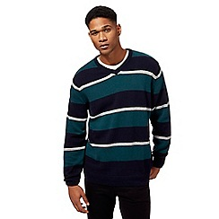 Maine New England - Big and tall navy and green striped V-neck jumper