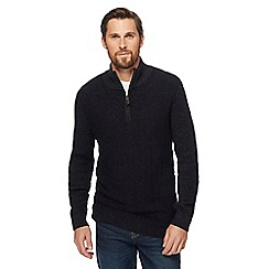 Maine New England - Black chunky knit zip neck sweater