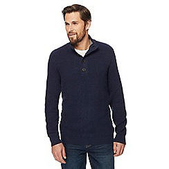 Maine New England - Navy chunky knit button neck sweater