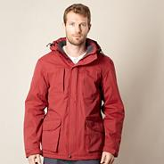 Big and tall dark red padded waterproof jacket