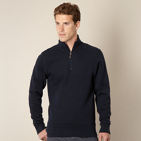 Maine New England - Big and tall navy ribbed funnel neck top