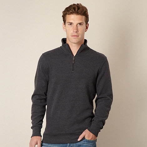 Maine New England - Big and tall dark grey ribbed funnel neck top