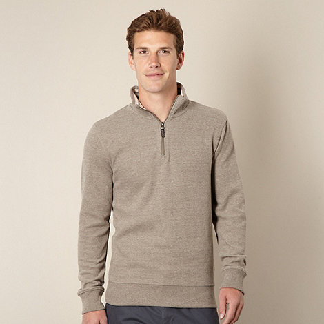 Maine New England - Taupe ribbed funnel neck top