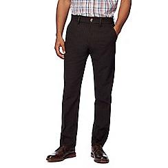 Maine New England - Big and tall brown moleskin herringbone tailored trousers