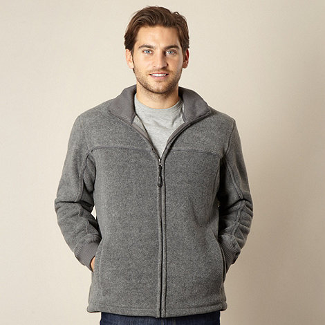 Maine New England - Grey zip front fleece jacket