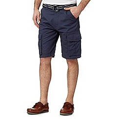 Maine New England - Big and tall dark blue belted cargo shorts