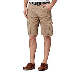 Maine New England - Big and tall taupe woven belted cargo shorts