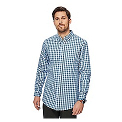 Maine New England - Big and tall blue small boxed check tailored fit shirt