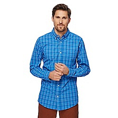 Maine New England - Big and tall blue boxed check tailored fit shirt