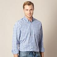 Blue gingham checked shirt