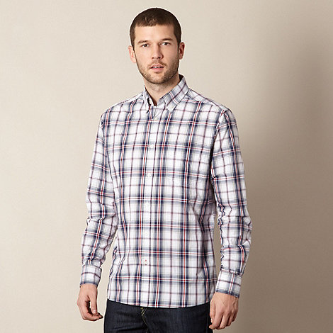Maine New England - Big and tall grey checked button down collar shirt