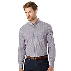 Maine New England - Navy mini checked button down collar shirt
