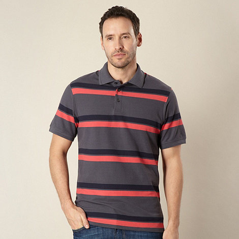 Maine New England - Big and tall dark grey striped pique polo shirt