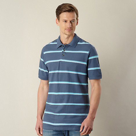 Maine New England - Dark grey two tone striped pique polo shirt
