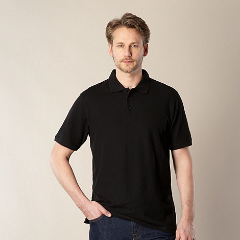 Maine New England - Black plain pique polo shirt
