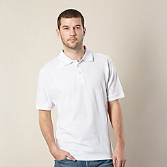 Maine New England - Big and tall white plain pique polo shirt