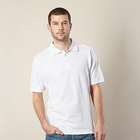 Maine New England - White plain pique polo shirt
